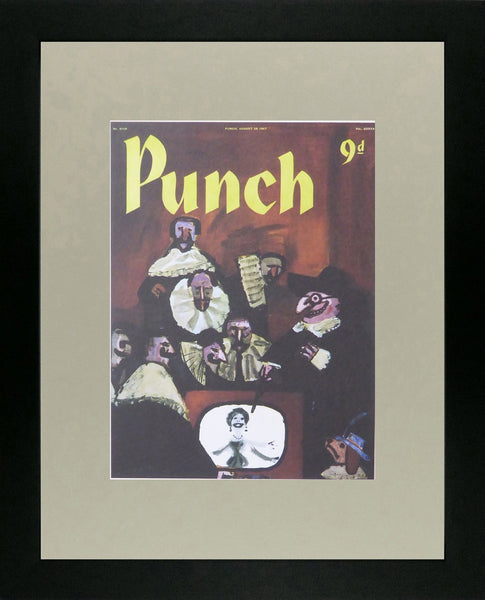 Punch Cartoon Art Cover Art Puritan type men in background with TV in foreground Andre Francois (1957)