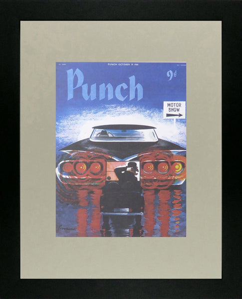 Punch Cartoon Art Cover Art Motor show with 1 large car & 1 small car Russell Brockbank (1960)
