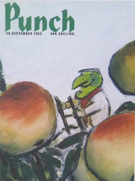 Punch Cartoon Art Cover Art Large apples with man on ladder Maurice Bartlett (1962)