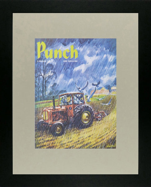 Punch Cartoon Art Cover Art Man in tractor on farm in pouring rain Norman Thelwell (1963)