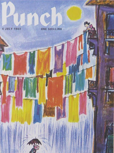 Punch Cartoon Art Cover Art Several lines of washing suspended above a street Kenneth Mahood (1962)
