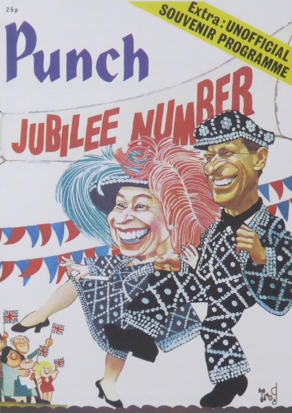 Punch Cartoon Art Cover Art Jubilee number with Queen & Prince Philip Trog (Walter 'Wally' Fawkes) 1977