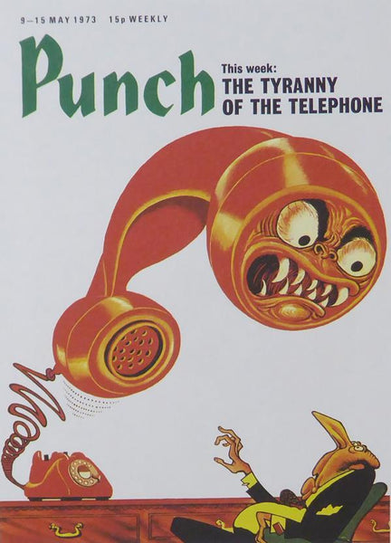 Punch Cartoon Art Cover Art Man with monster red telephone John Jensen (1973)
