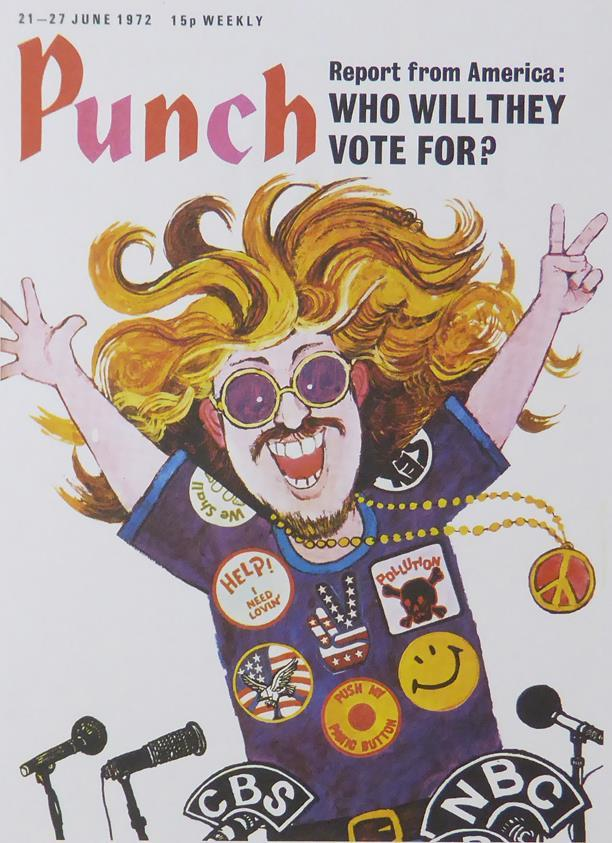 Punch Cartoon Art Cover Art Report from America who will they vote for? Geoffrey Dickinson (1972)