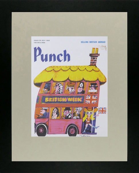 Punch Cartoon Art Cover Art British week with London red bus Geoffrey Dickinson (1969)
