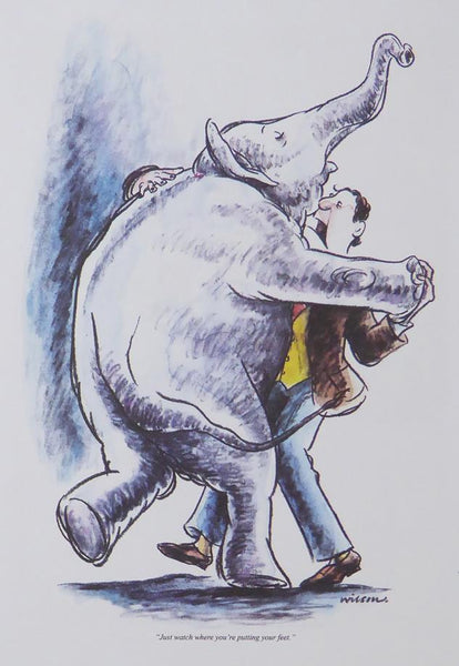 Punch Cartoon Art Man dancing with an elephant Robert Wilson (1988)