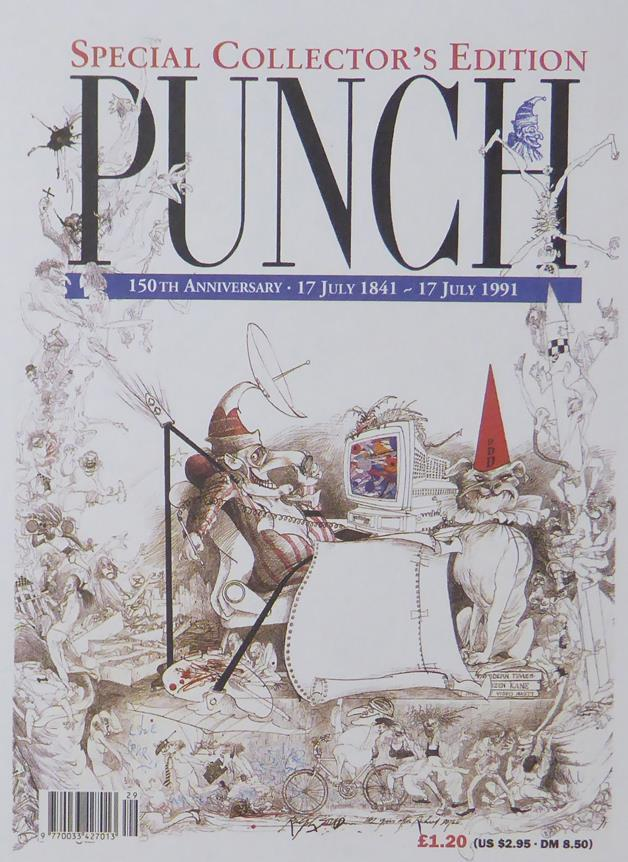 Punch Cartoon Art Cover Art 150th anniversary 17th July 1841 17th July 1991 Ralph Steadman (1991)