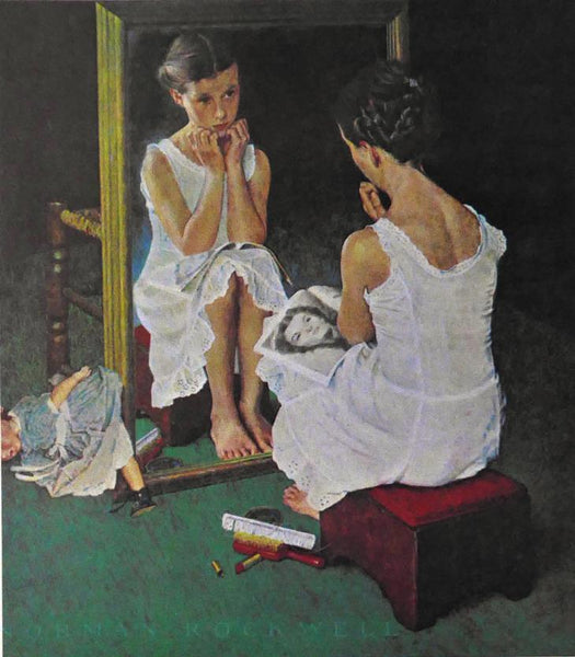 Reflections, young girl reflected in a mirror Norman Rockwell