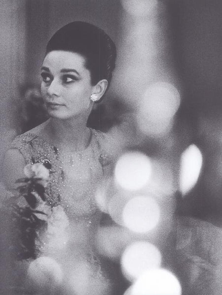 Audrey Hepburn in evening dress black & white