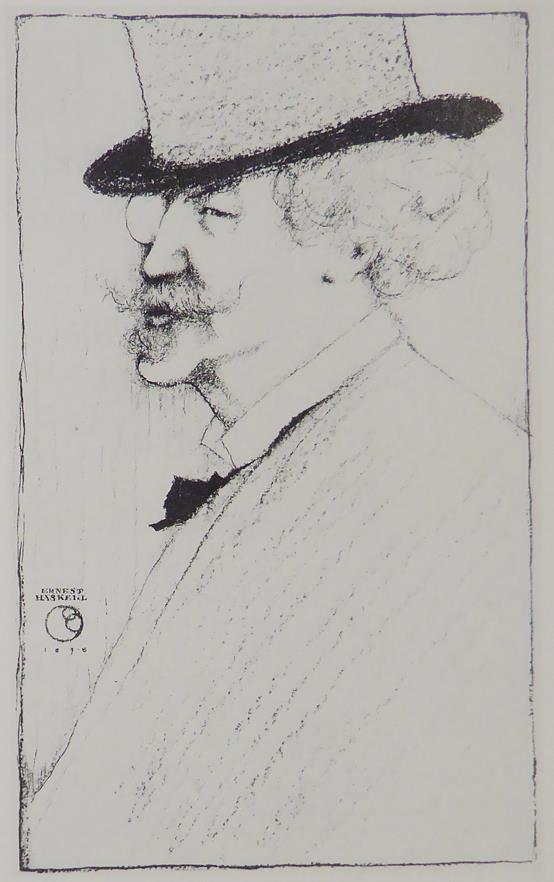 Whistler portrait Ernest Haskell (black & white)