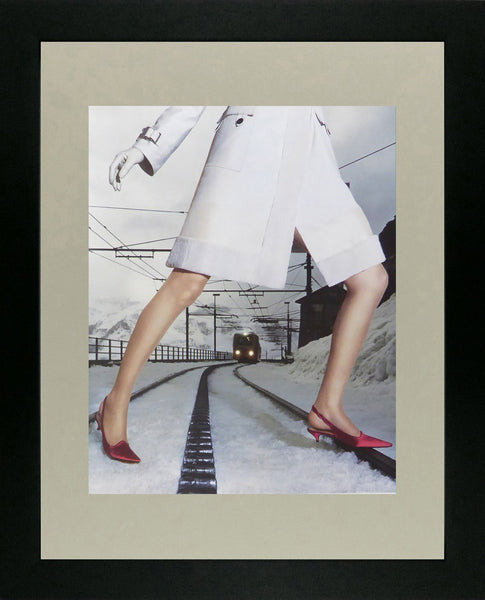 Louis Vuitton ready to wear shoes model on railtrack