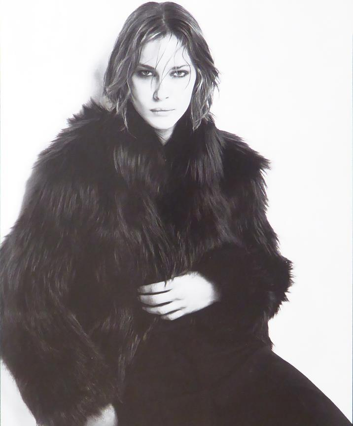 Keira Knightley in fur coat (We Think) (black & white)