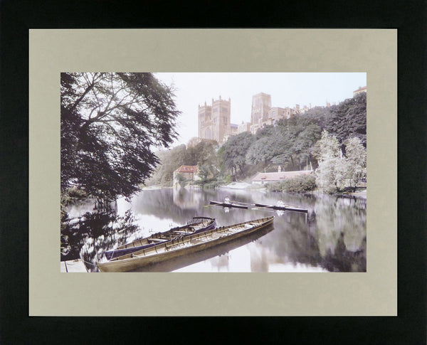 Durham river scene with cathedral on hill in background