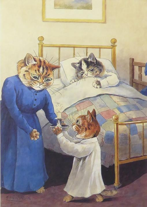 3 Cats with a mother cat, cat in a bed and another cat with a candle Louis Wain
