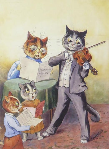 4 Cats with a father cat playing a violin, mother cat singing and 2 little cats looking on Louis Wain