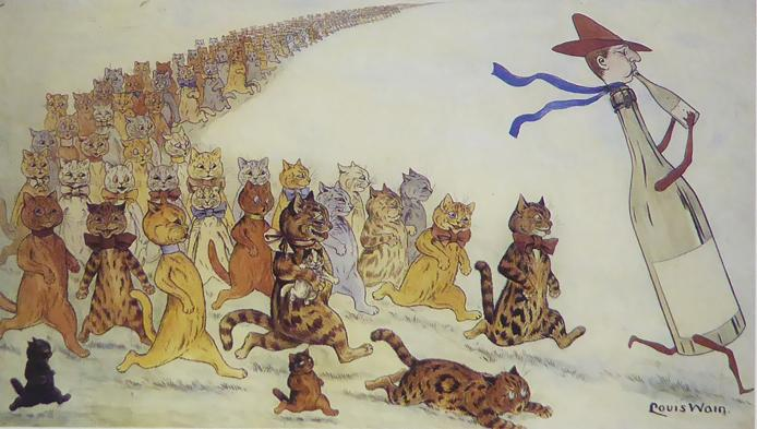 Procession of multicoloured cats following a pied piper type figure Louis Wain