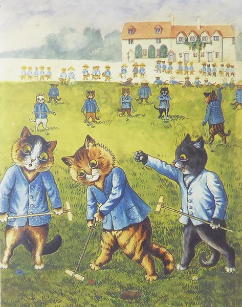 Cats playing a game of some sort Louis Wain