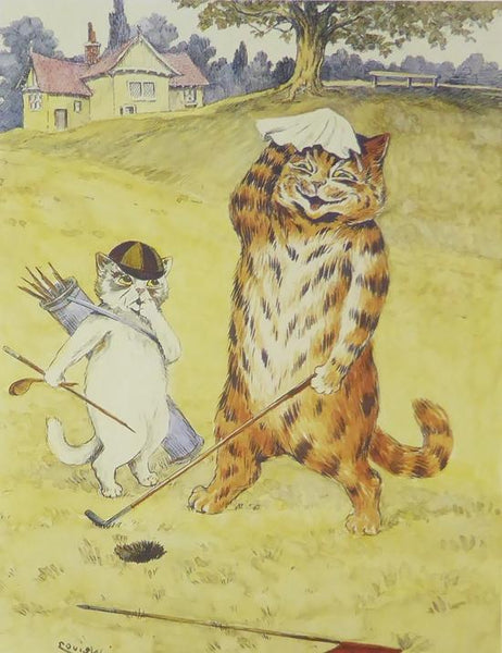 Cat playing golf with caddie holding golf bag Louis Wain