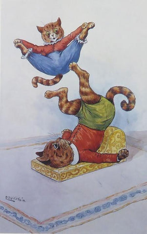 2 acrobatic cats Louis Wain
