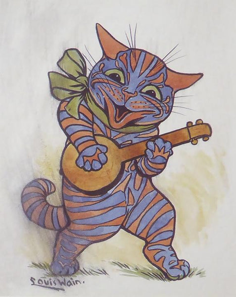 Striped cat playing banjo Louis Wain