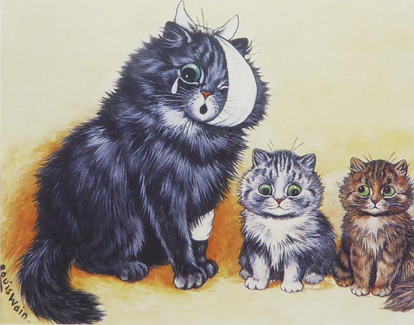 1 bandaged cat with 2 little cats Louis Wain