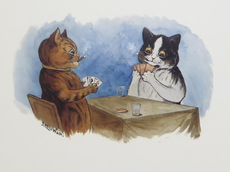 2 Cats playing cards Louis Wain