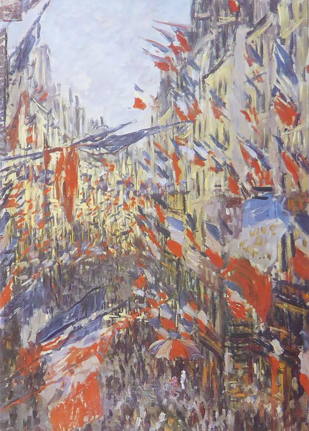 Rue Montorgueil decked out with flags Monet