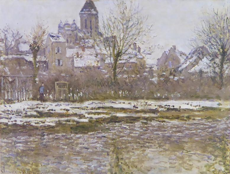 Snow effect at Vetheuil Monet