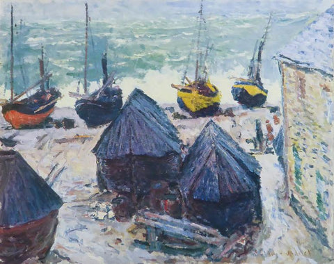 Boats in Winter quarters Etretat Monet