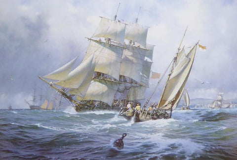 A King's Ship, A Corvette in passing squall over Portsmouth John Michael Groves