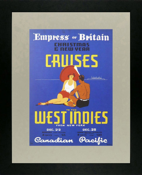 Empress of Britain Christmas & New Year cruises to the West Indies from New York Canadian Pacific Framed Picture