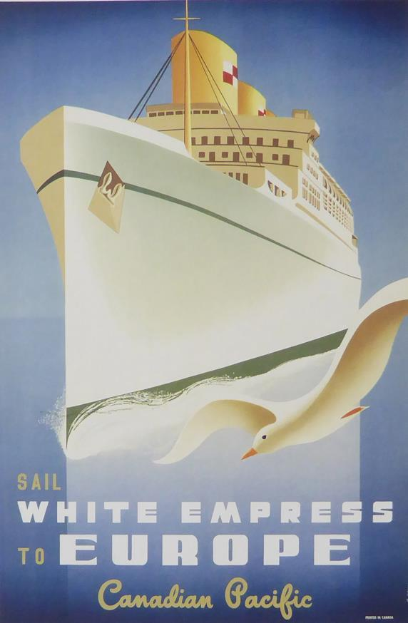 Sail White Empress to Europe Canadian Pacific Framed Picture