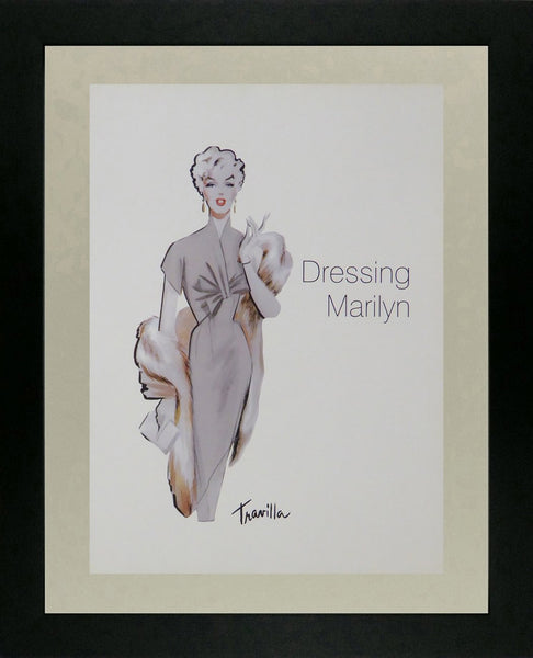 Dressing Marilyn she's in a silver coloured dress and wrap (Printed sketch)