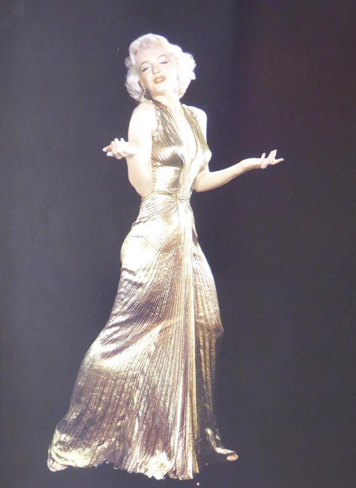 Marilyn in gold lame evening dress full pose