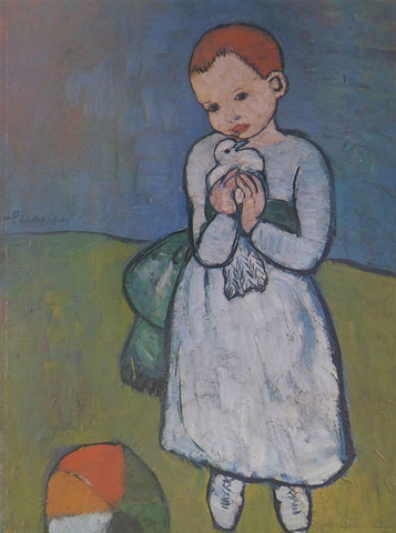 Child holding a Dove Picasso