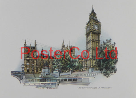 "Big Ben and the Houses of Parliament - Framed Print - 11""H x 14""W"