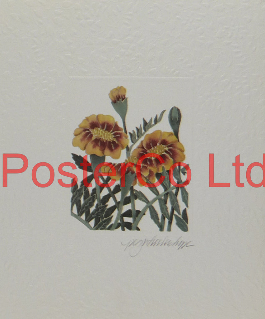 "Marigolds - Peg Wheeler Hope - Artbeats 1990 - Framed Print - 14""H x 11""W"