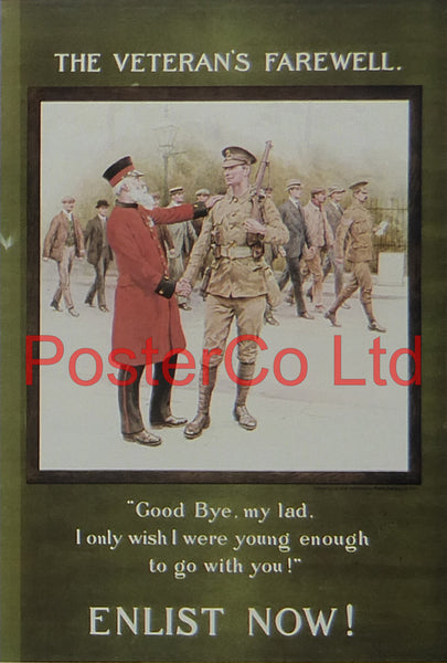 "WWI Propaganda Poster (British) - The Veterans Farewell - Framed Picture - 14""H x 11""W"