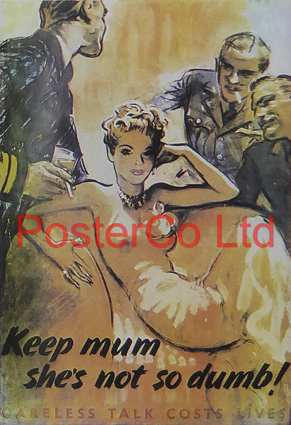"WWII Propaganda Poster (British) - Keep Mum - She's not so dumb - Framed Picture - 14""H x 11""W"