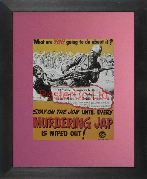 "WWII Propaganda Poster (American) - What Are You Going To Do About It - Framed Picture - 14""H x 11""W"