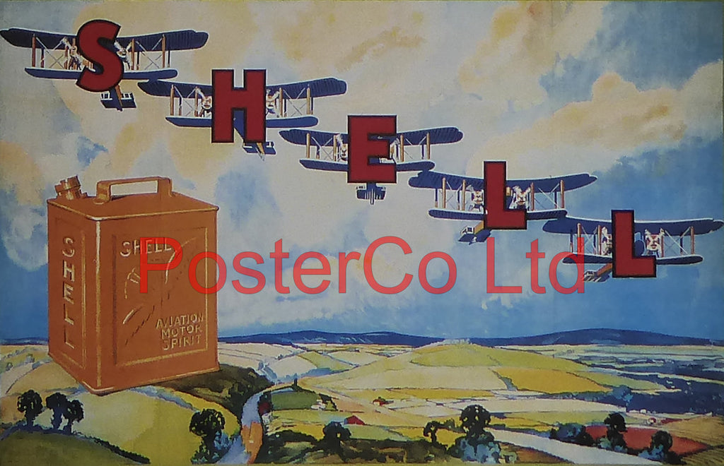 "Shell Advert - Aviation Motor Spirit (1920) - Framed Picture - 11""H x 14""W"