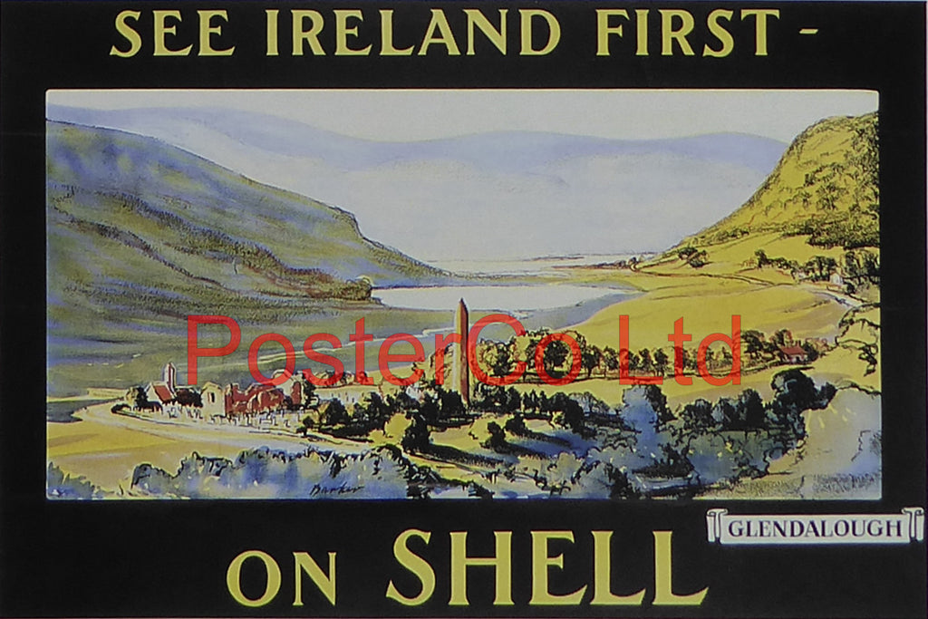 "Shell Advert - See Ireland First on Shell - Glendalough (1925) - Barker - Framed Picture - 11""H x 14""W"