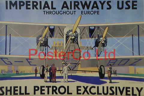 "Shell Advert - Imperial Airways Use Shell Petrol (1929) - William Dacres Adams - Framed Picture - 11""H x 14""W"