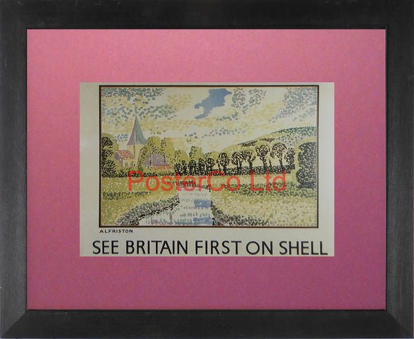 "Shell Advert - See Britain First on Shell - Alfriston (1931) - Vanessa Bell - Framed Picture - 11""H x 14""W"