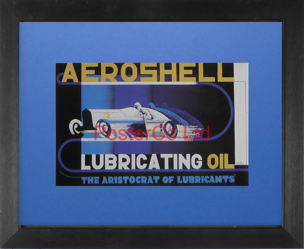 "Shell Advert - Aeroshell Lubricating oil (1932) - Edward McKnight Kauffer - Framed Picture - 11""H x 14""W"