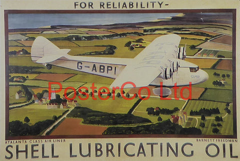 "Shell Advert - For Reliability Atlanta Class Air liner (1932) - Barnett Freedman - Framed Picture - 11""H x 14""W"