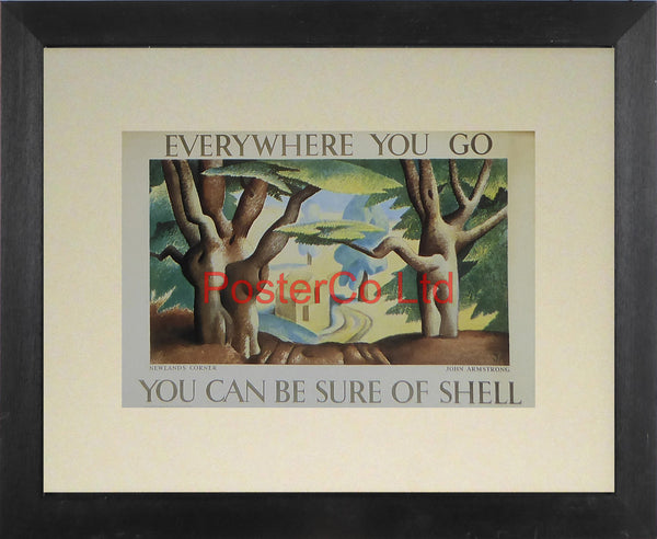 "Shell Advert - Wherever you go you can be sure of Shell - Newlands Corner (1932) - John Armstrong - Framed Picture - 11""H x 14""W"