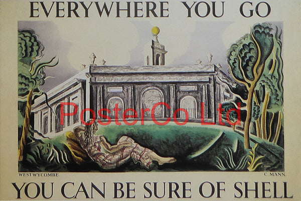 "Shell Advert - Wherever you go you can be sure of Shell - West Wycombe (1933) - Cathleen Mann - Framed Picture - 11""H x 14""W"