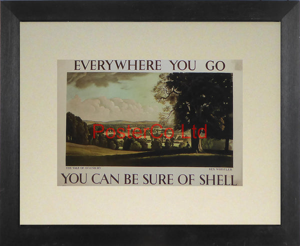 "Shell Advert - Wherever you go you can be sure of Shell - The Vale of Aylesbury (1933) - Rex Whistler - Framed Picture - 11""H x 14""W"