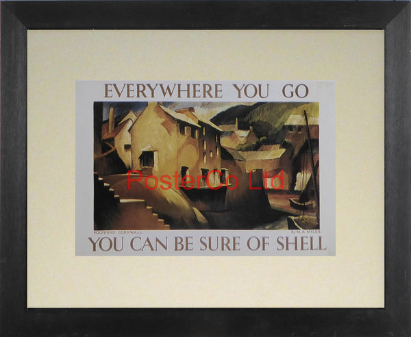 "Shell Advert - Wherever you go you can be sure of Shell - Polperro Cornwall (1933) - Maurice A Miles - Framed Picture - 11""H x 14""W"
